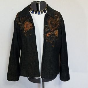 Chico's gold bling Jean jacket